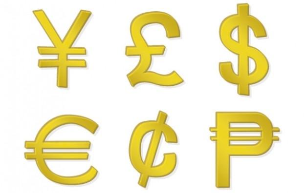 Sammlung von Geldsymbolen (25)