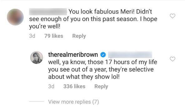 'Schwesterfrauen' -Star Meri Brown erklärt, warum sie in Staffel 14 nicht in vielen Szenen war
